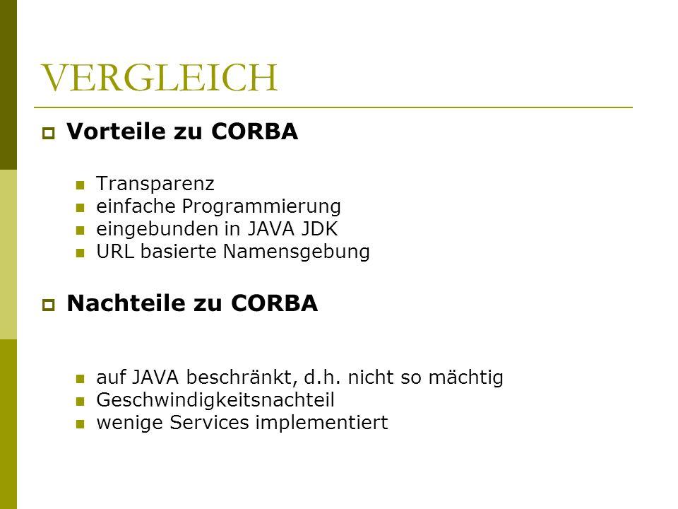 VERGLEICH Vorteile zu CORBA Nachteile zu CORBA Transparenz
