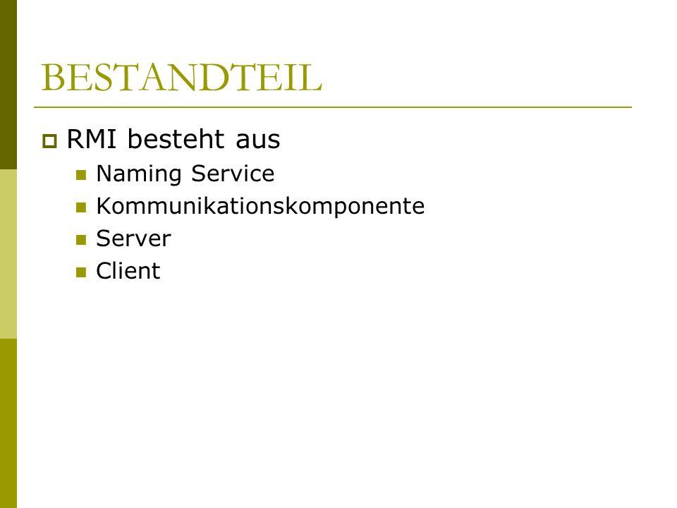 BESTANDTEIL RMI besteht aus Naming Service Kommunikationskomponente