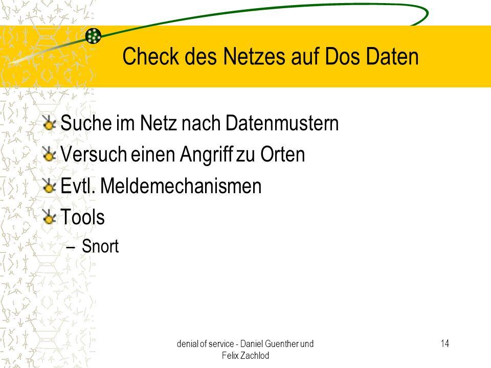 Check des Netzes auf Dos Daten