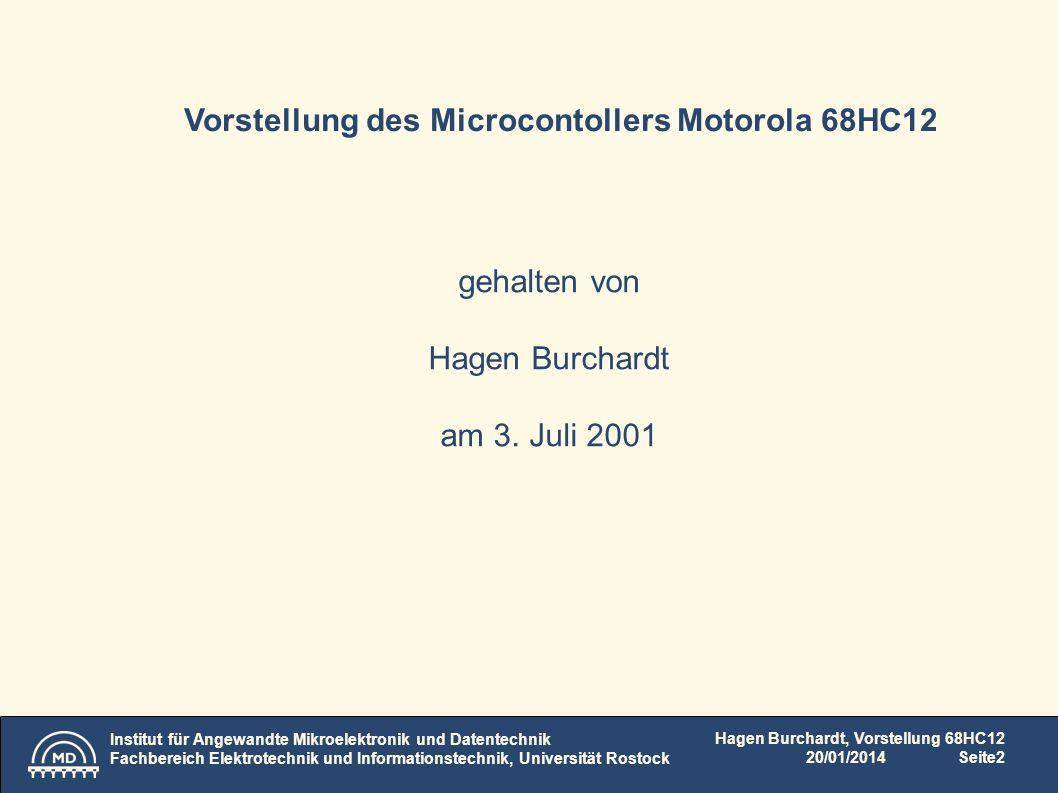 Vorstellung des Microcontollers Motorola 68HC12