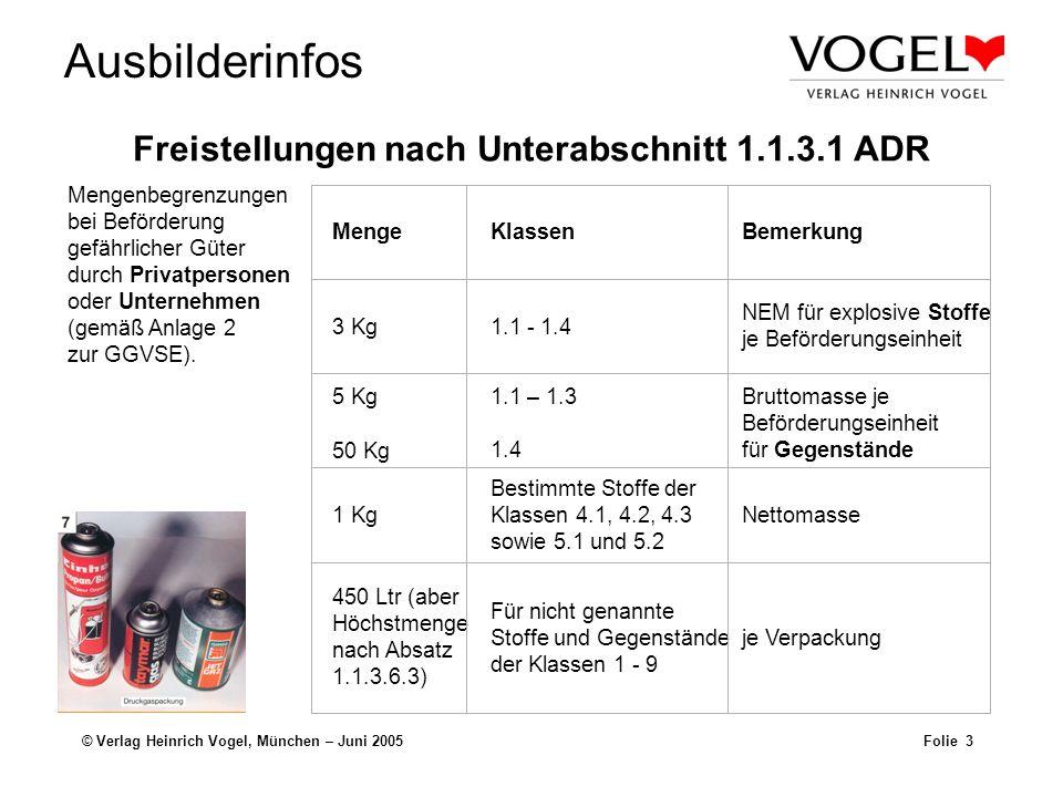 Freistellungen nach Unterabschnitt 1.1.3.1 ADR