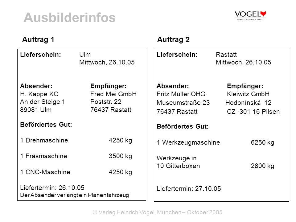 Ausbilderinfos Auftrag 1 Auftrag 2 Lieferschein: Ulm