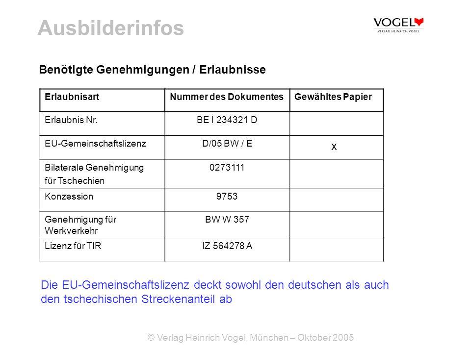 Ausbilderinfos Benötigte Genehmigungen / Erlaubnisse x