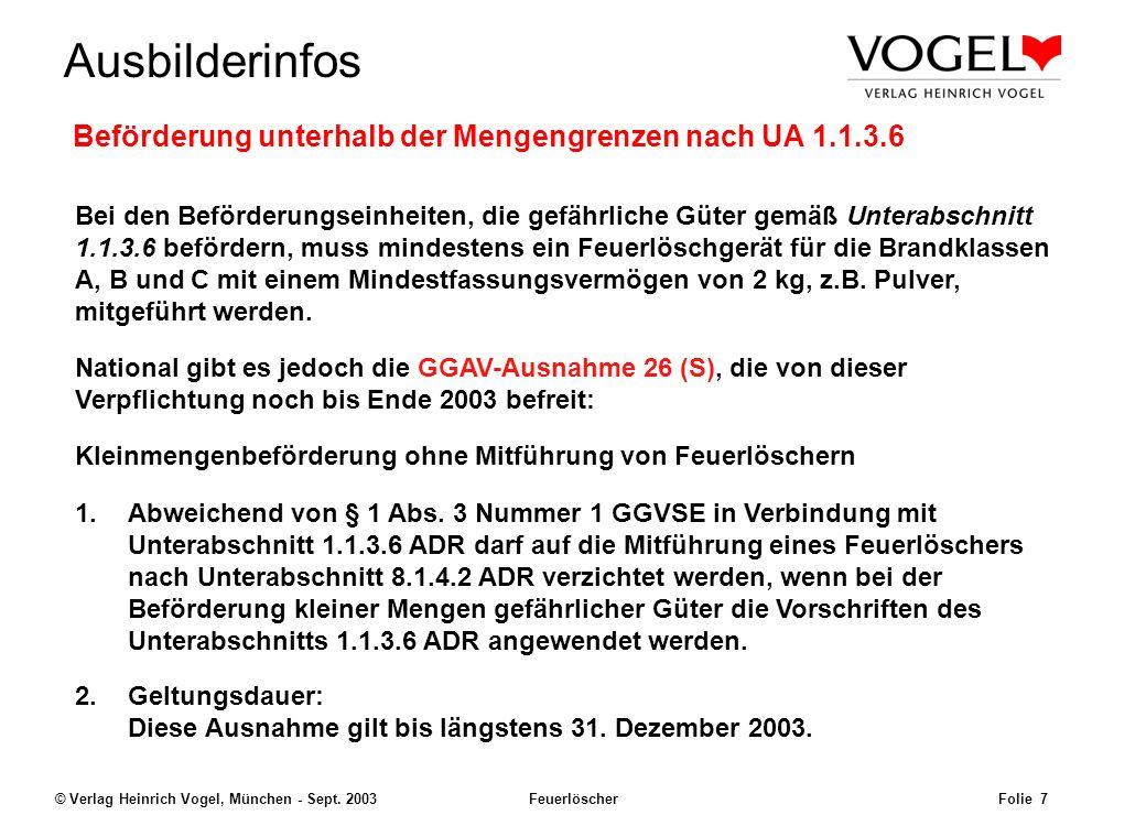 Beförderung unterhalb der Mengengrenzen nach UA 1.1.3.6