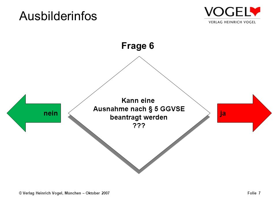 Frage 6 Kann eine Ausnahme nach § 5 GGVSE beantragt werden nein ja