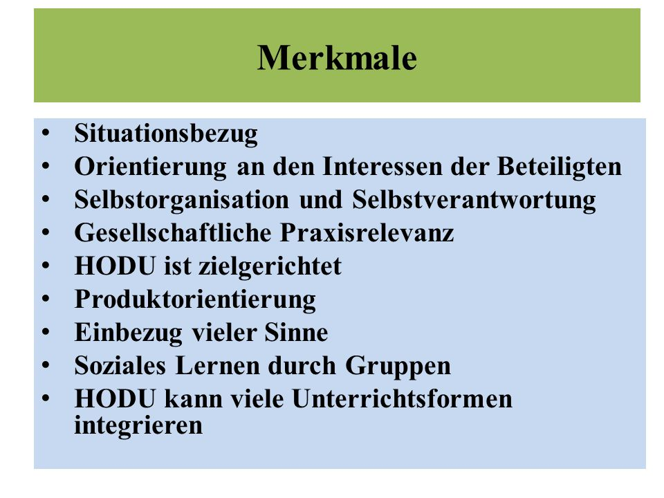 Merkmale Situationsbezug
