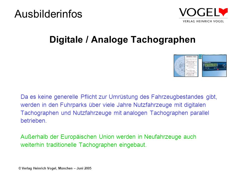 Digitale / Analoge Tachographen