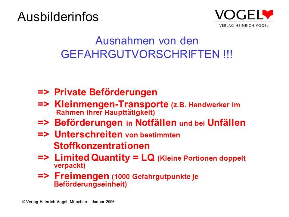 Ausnahmen von den GEFAHRGUTVORSCHRIFTEN !!!