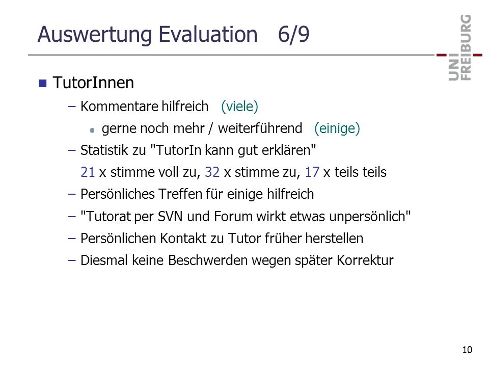 Auswertung Evaluation 6/9
