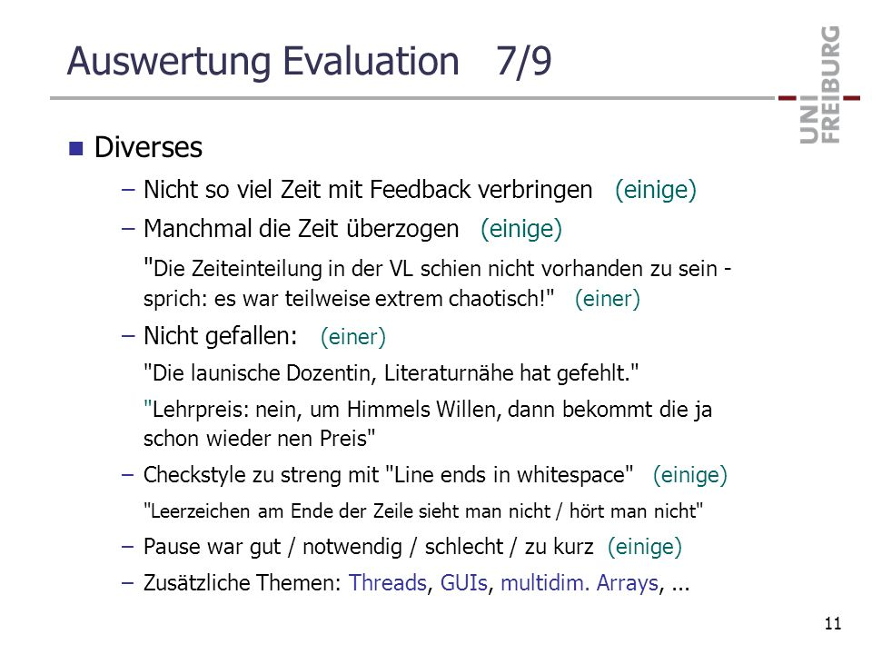 Auswertung Evaluation 7/9