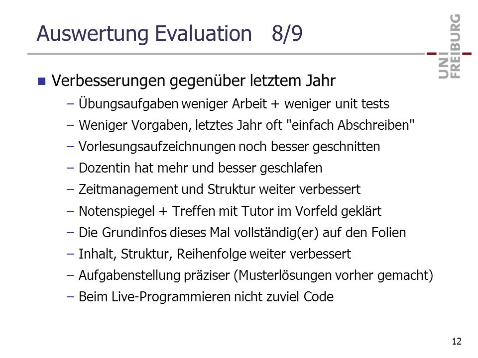 Auswertung Evaluation 8/9