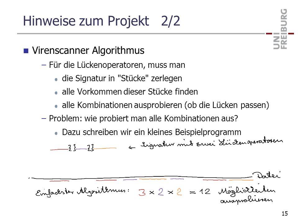 Hinweise zum Projekt 2/2 Virenscanner Algorithmus