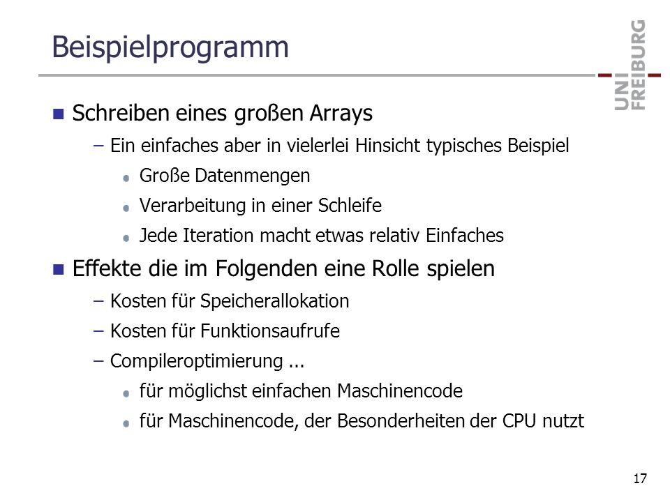 Beispielprogramm Schreiben eines großen Arrays