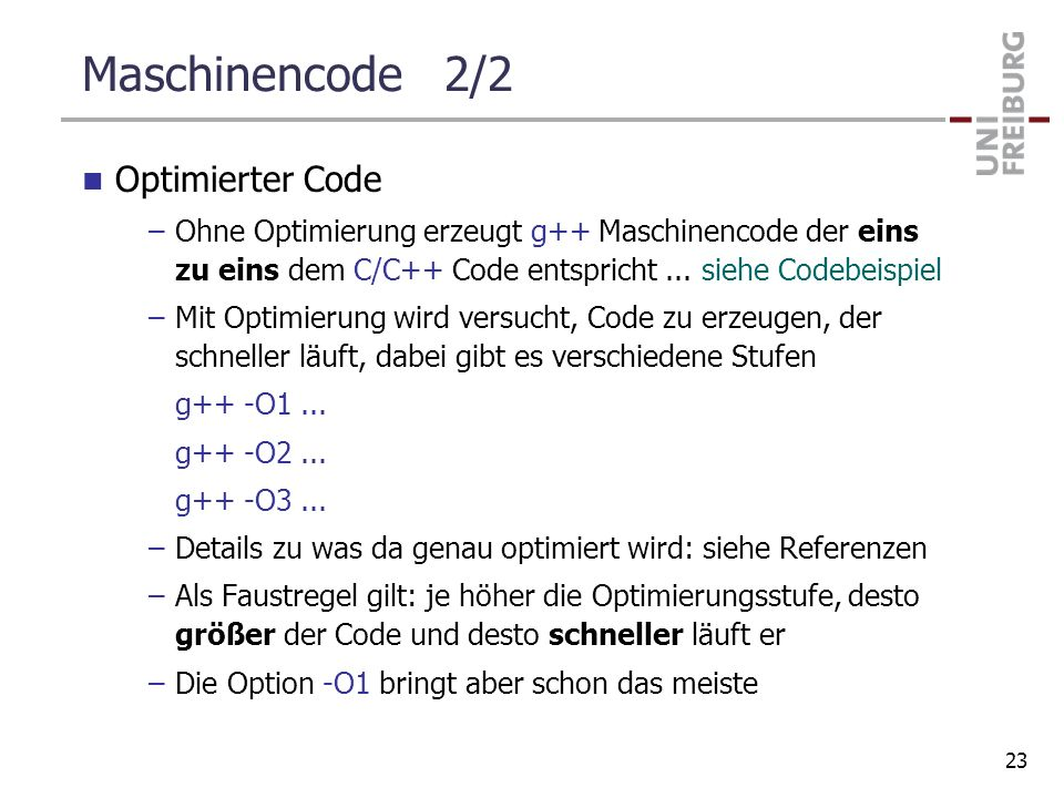Maschinencode 2/2 Optimierter Code