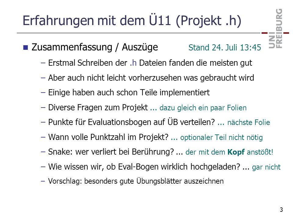 Erfahrungen mit dem Ü11 (Projekt .h)