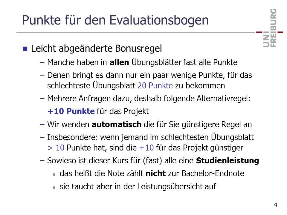 Punkte für den Evaluationsbogen