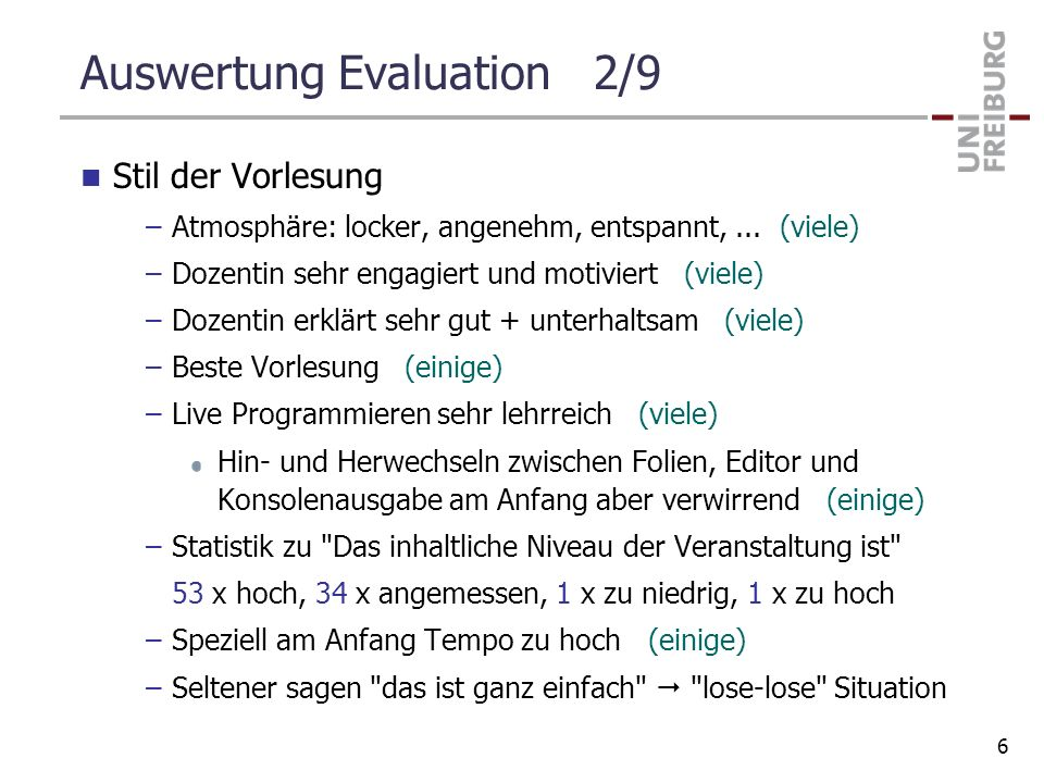 Auswertung Evaluation 2/9