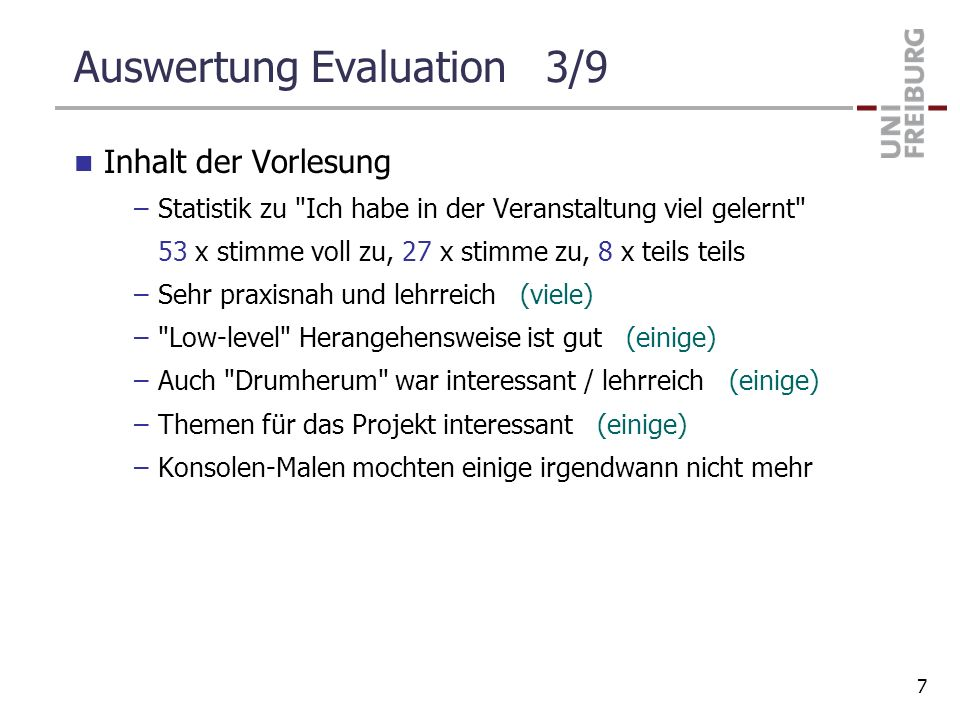 Auswertung Evaluation 3/9