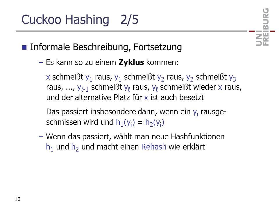 Cuckoo Hashing 2/5 Informale Beschreibung, Fortsetzung