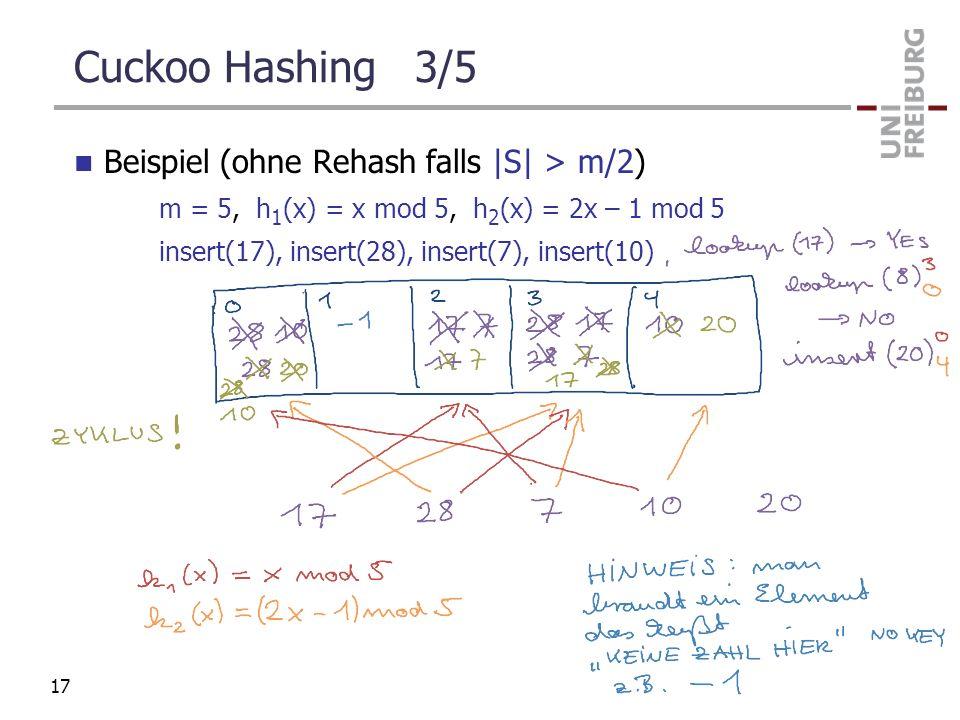 Cuckoo Hashing 3/5 Beispiel (ohne Rehash falls |S| > m/2)