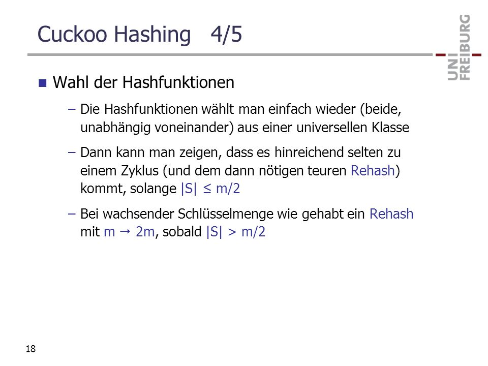 Cuckoo Hashing 4/5 Wahl der Hashfunktionen