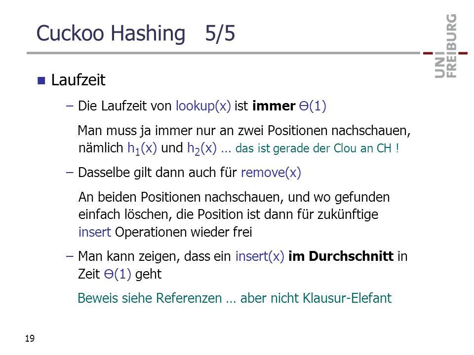 Cuckoo Hashing 5/5 Laufzeit Die Laufzeit von lookup(x) ist immer ϴ(1)
