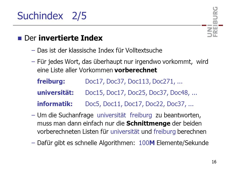 Suchindex 2/5 Der invertierte Index