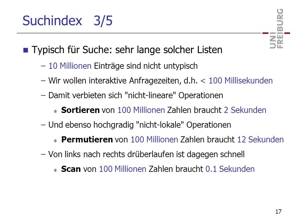 Suchindex 3/5 Typisch für Suche: sehr lange solcher Listen