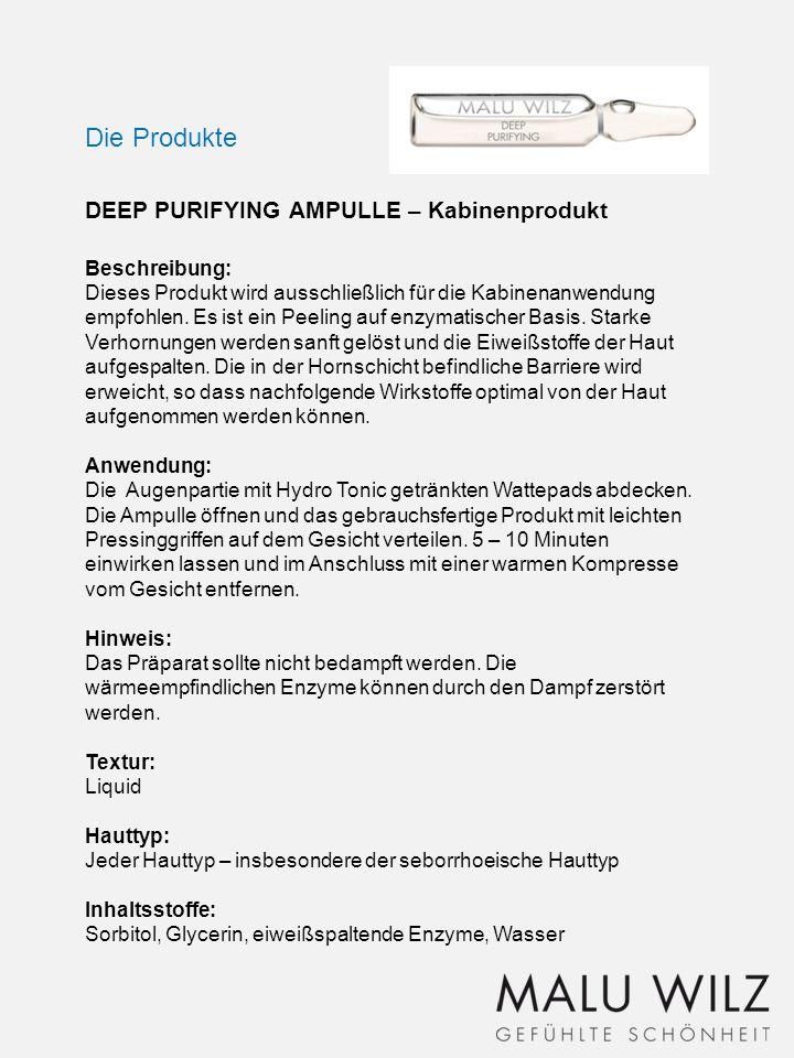 Die Produkte DEEP PURIFYING AMPULLE – Kabinenprodukt Beschreibung: