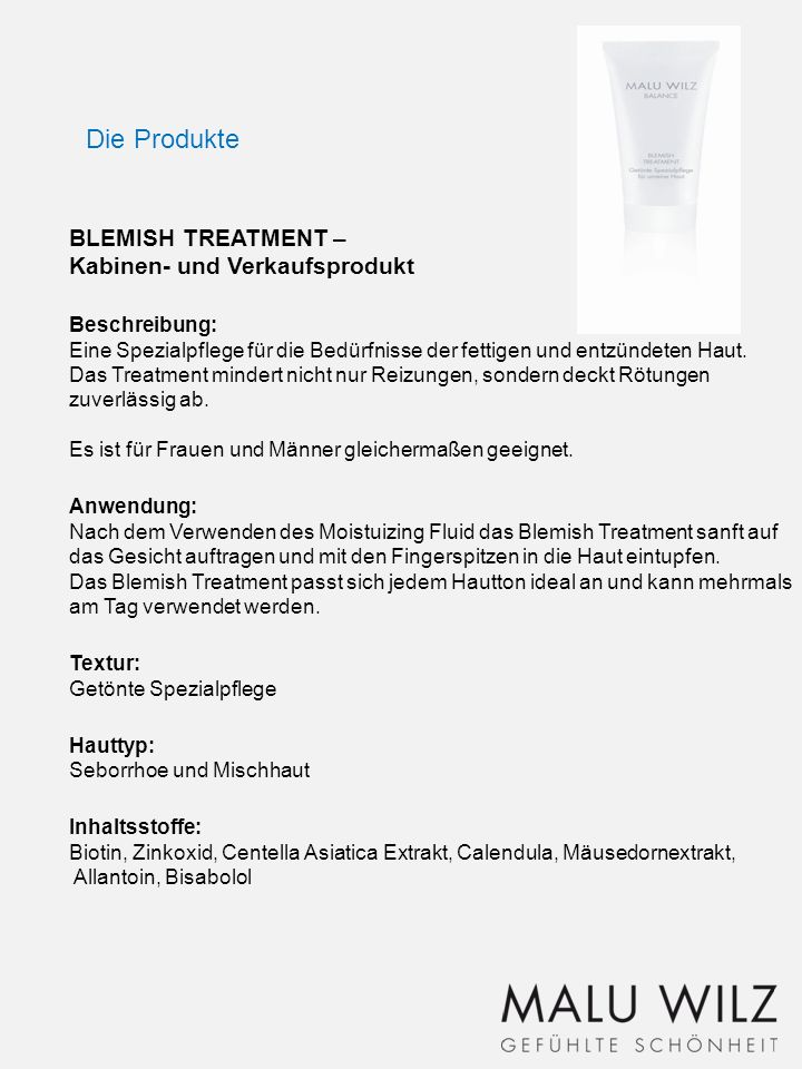 Die Produkte BLEMISH TREATMENT – Kabinen- und Verkaufsprodukt