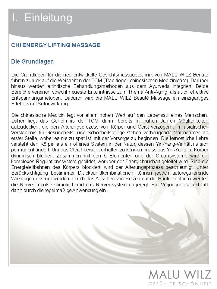 I. Einleitung CHI ENERGY LIFTING MASSAGE Die Grundlagen