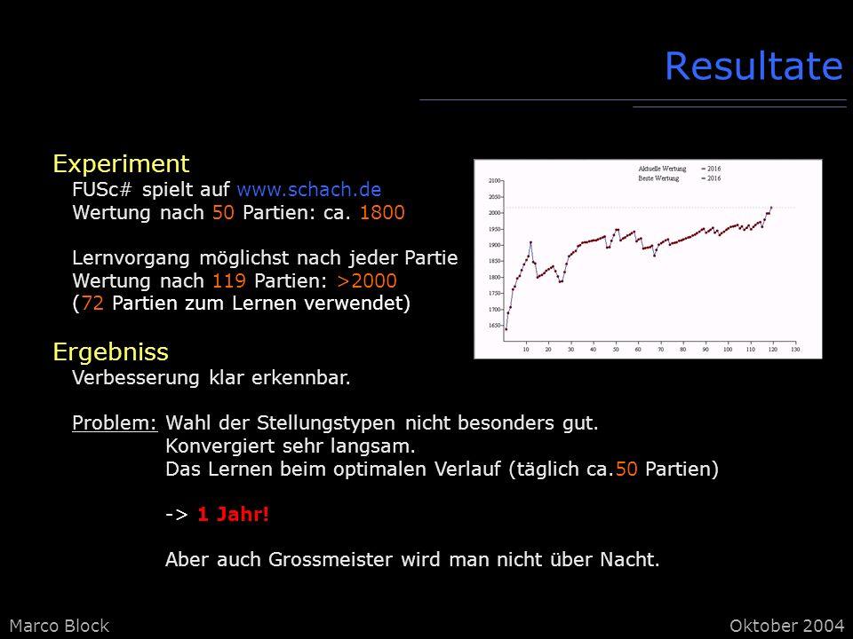 Resultate Experiment Ergebniss FUSc# spielt auf www.schach.de