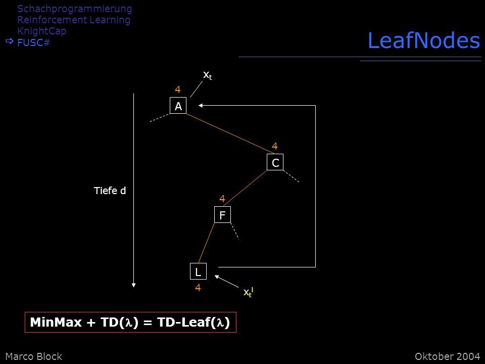 LeafNodes MinMax + TD() = TD-Leaf() xt A C F L Schachprogrammierung