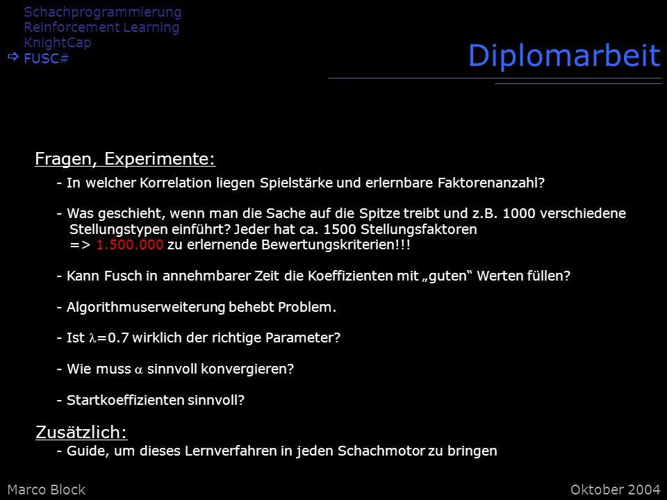 Diplomarbeit Fragen, Experimente: Zusätzlich: Schachprogrammierung