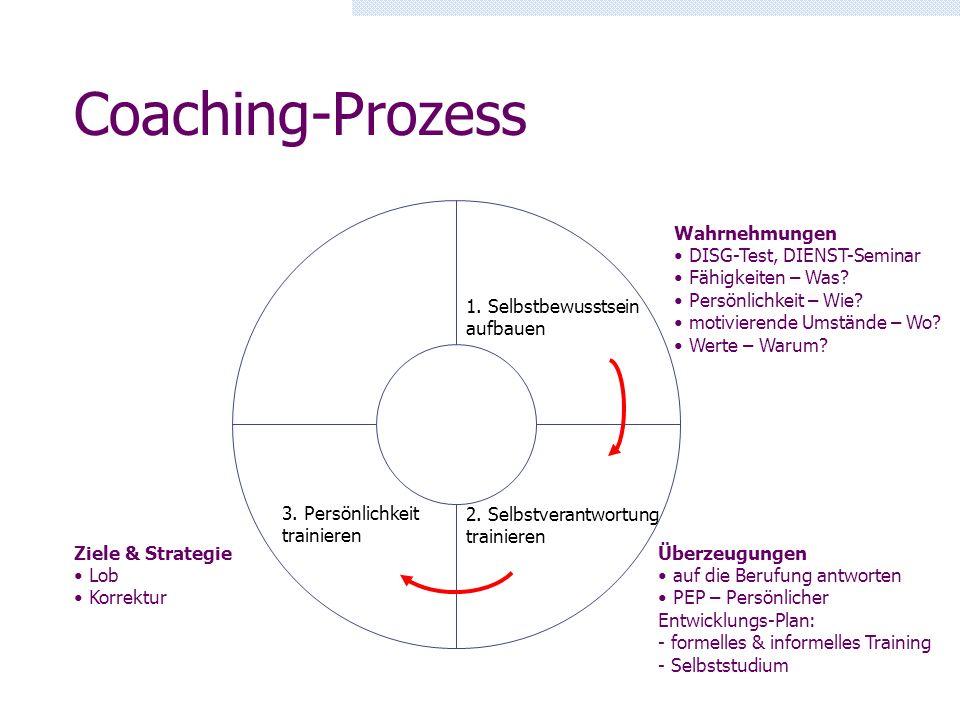 Coaching-Prozess Wahrnehmungen DISG-Test, DIENST-Seminar
