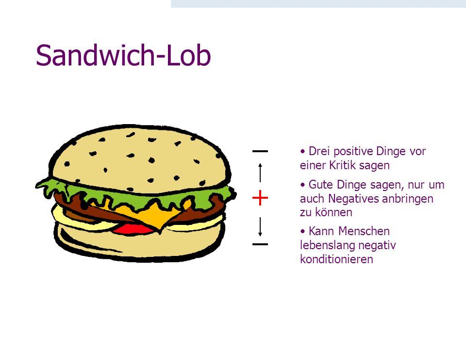Sandwich-Lob Drei positive Dinge vor einer Kritik sagen
