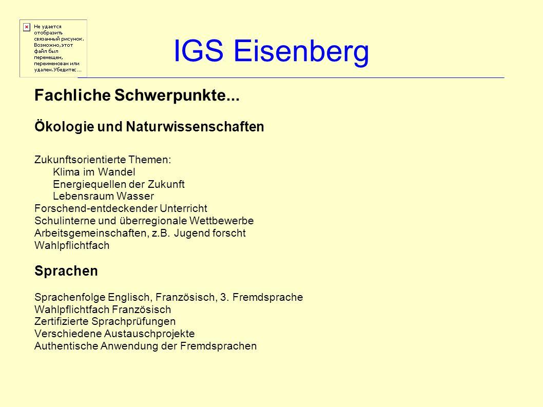 IGS Eisenberg Fachliche Schwerpunkte...