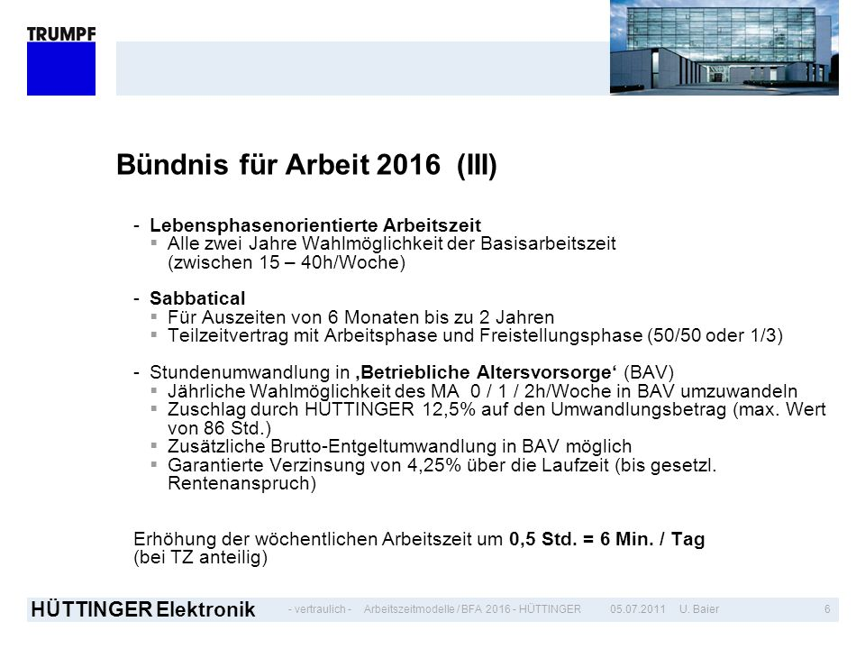 Bündnis für Arbeit 2016 (III)