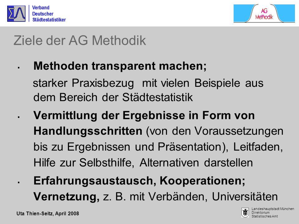 Ziele der AG Methodik Methoden transparent machen;