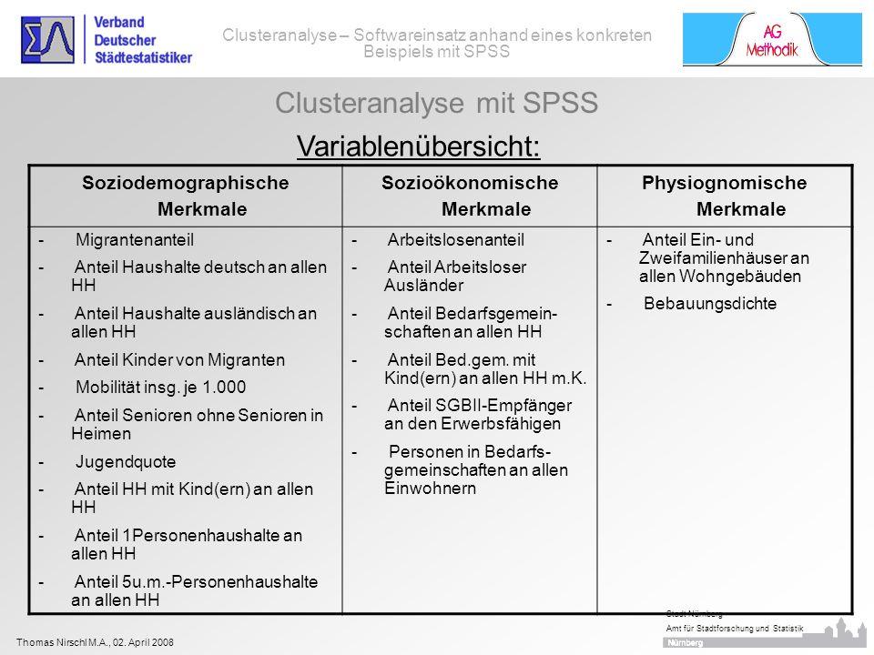 Clusteranalyse mit SPSS Variablenübersicht: