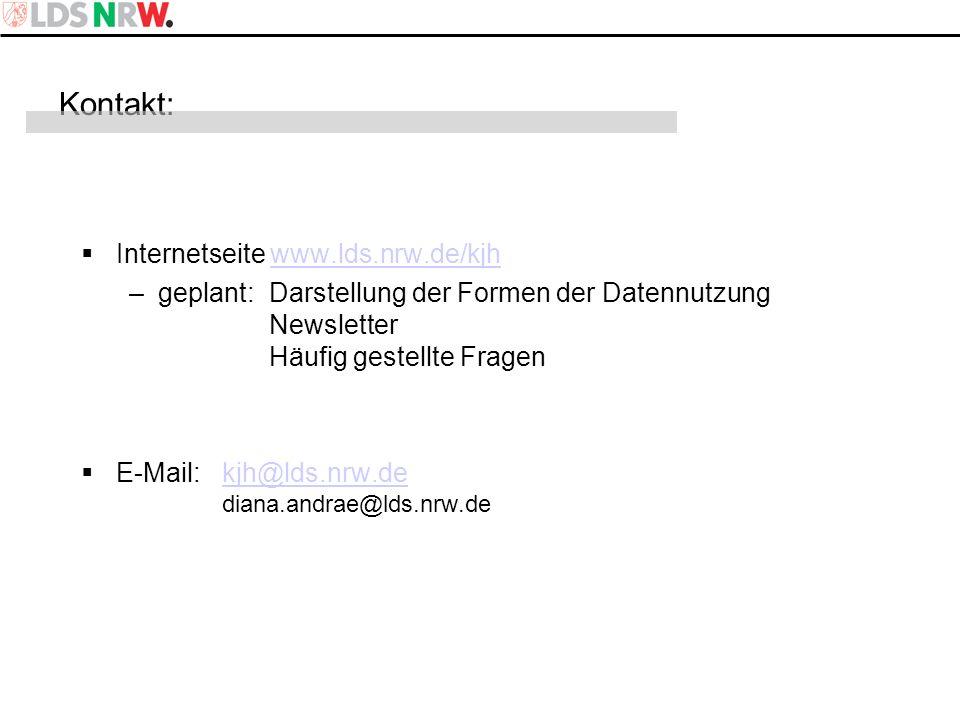 Kontakt: Internetseite www.lds.nrw.de/kjh