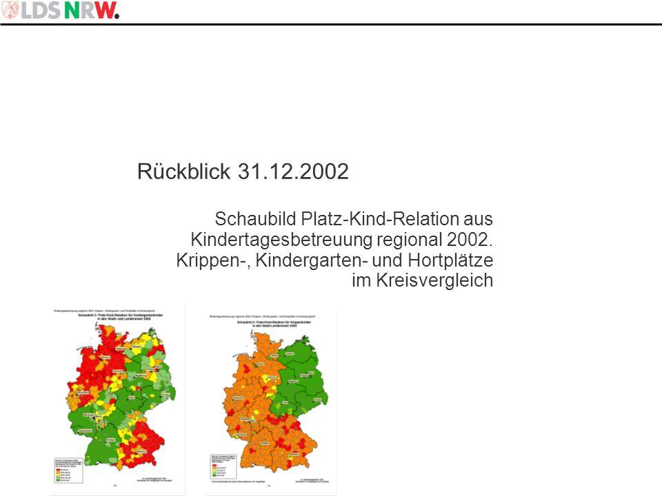 Rückblick 31.12.2002 Schaubild Platz-Kind-Relation aus Kindertagesbetreuung regional 2002. Krippen-, Kindergarten- und Hortplätze.