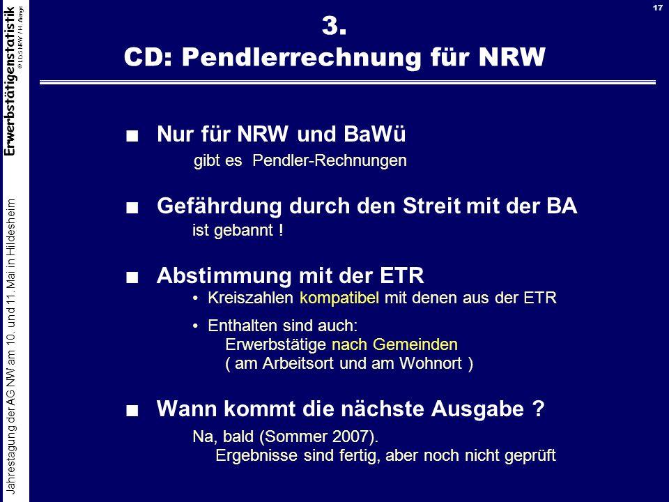 3. CD: Pendlerrechnung für NRW