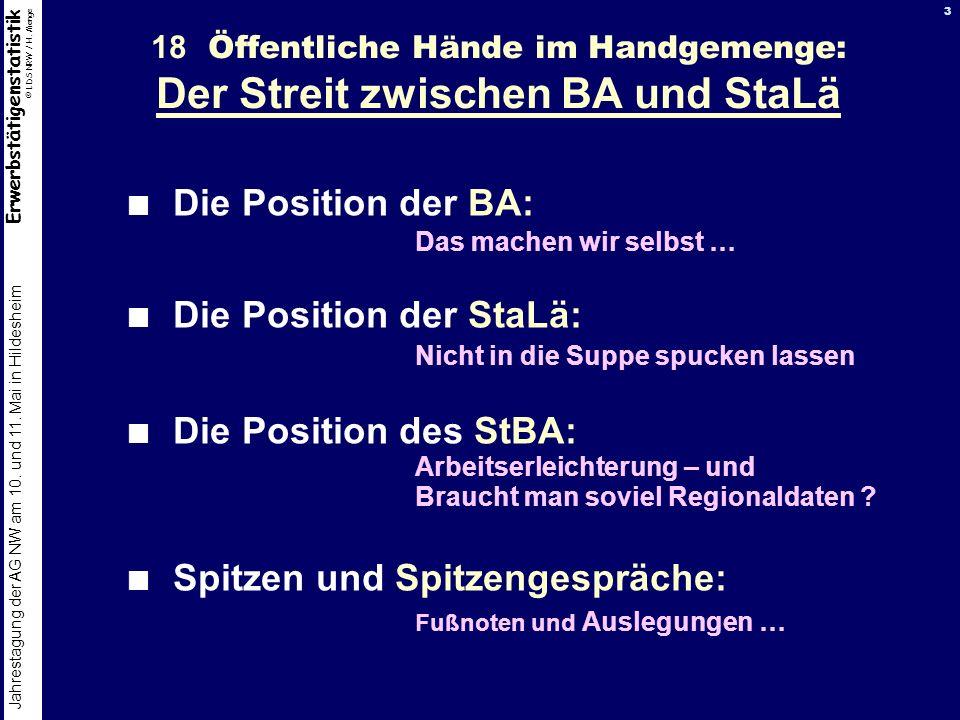 18 Öffentliche Hände im Handgemenge: Der Streit zwischen BA und StaLä