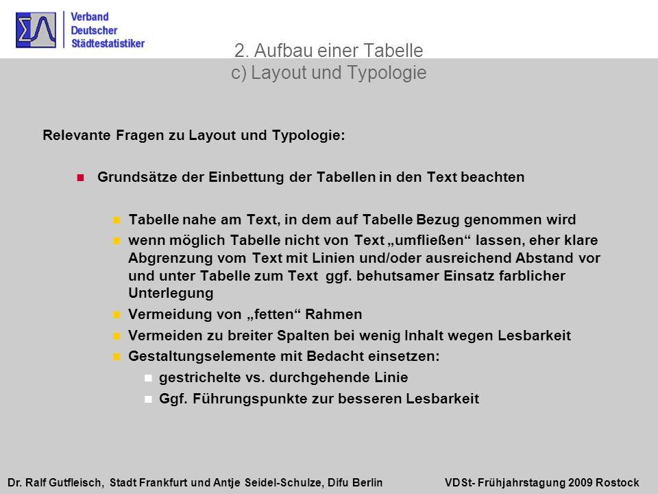 2. Aufbau einer Tabelle c) Layout und Typologie