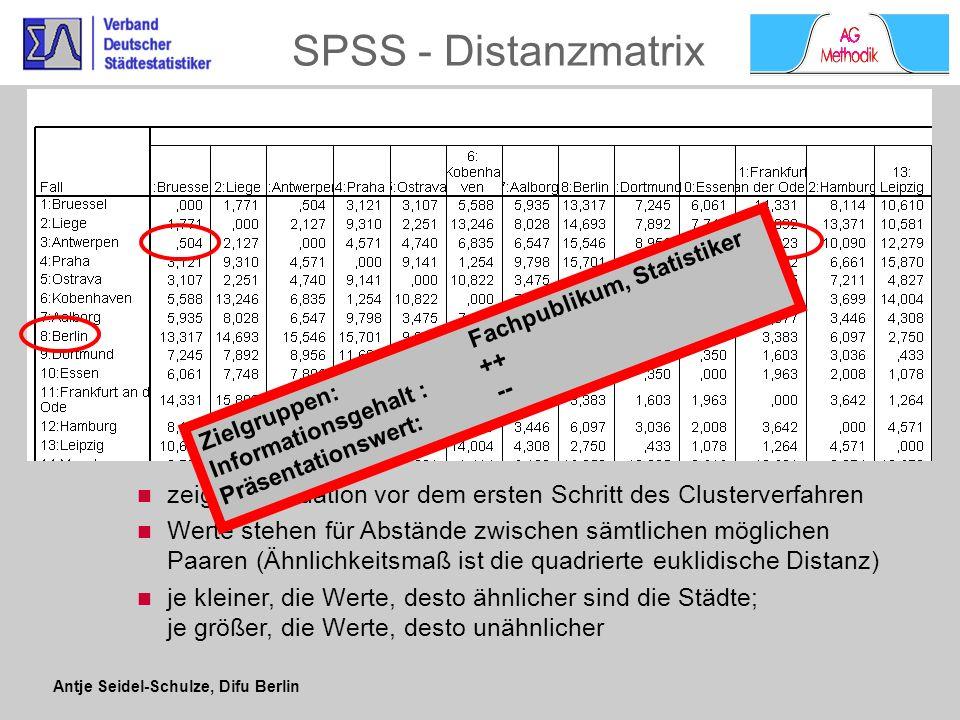 SPSS - Distanzmatrix Zielgruppen: Fachpublikum, Statistiker. Informationsgehalt : ++ Präsentationswert: --