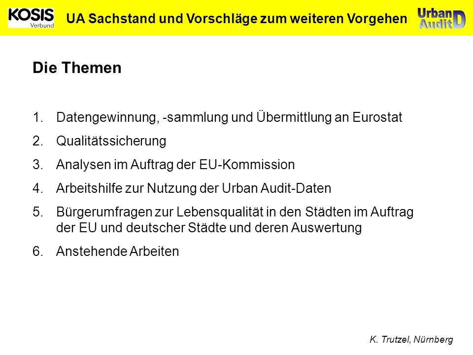 UA Sachstand und Vorschläge zum weiteren Vorgehen