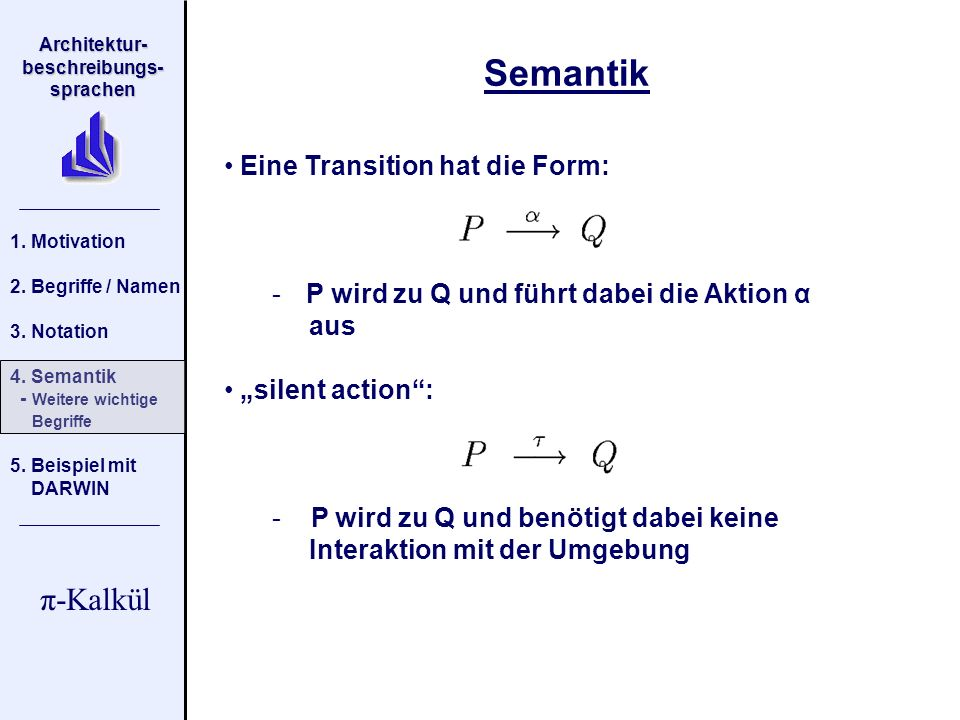 Semantik Eine Transition hat die Form: