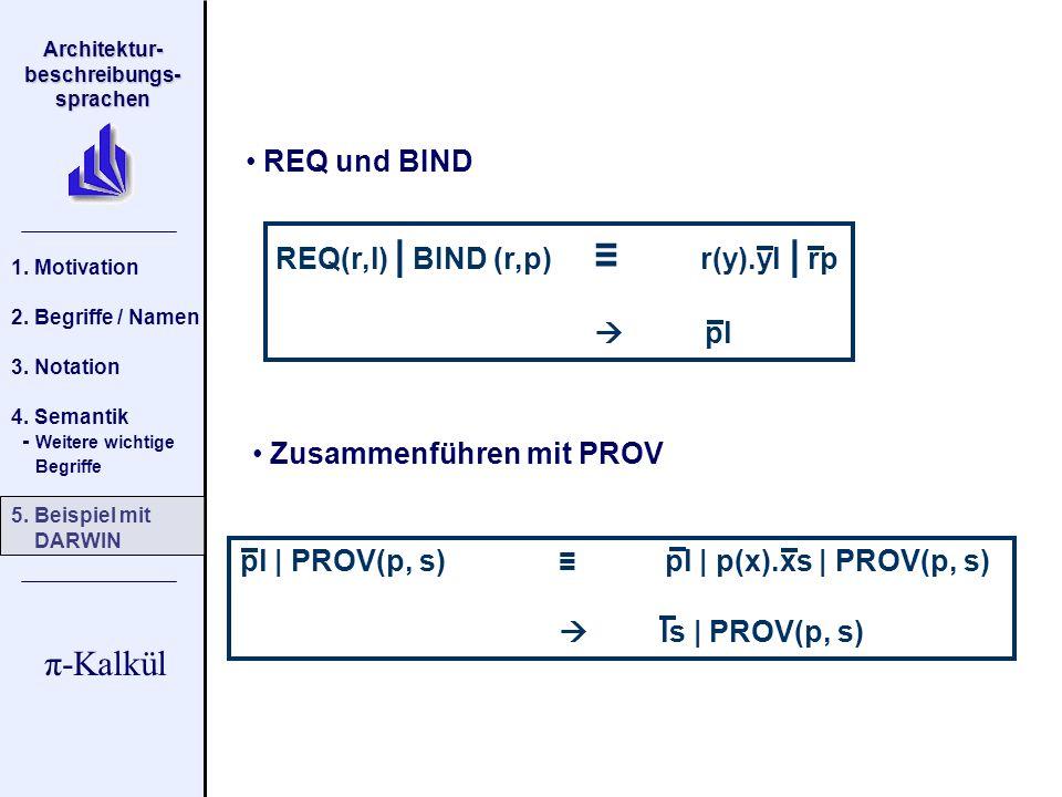 REQ und BIND REQ(r,l) | BIND (r,p) ≡ r(y).yl | rp.  pl. Zusammenführen mit PROV. pl | PROV(p, s) ≡ pl | p(x).xs | PROV(p, s)