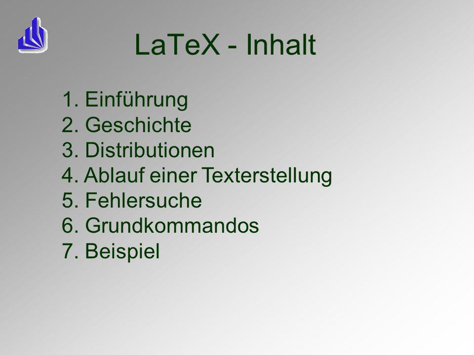 LaTeX - Inhalt 1. Einführung 2. Geschichte 3. Distributionen
